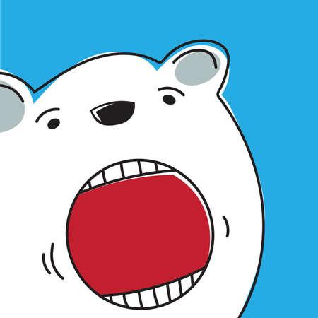 la boca: ilustración vectorial de un oso polar Vectores
