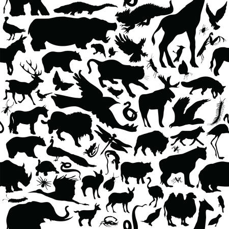 seamless pattern of various animal silhouettes