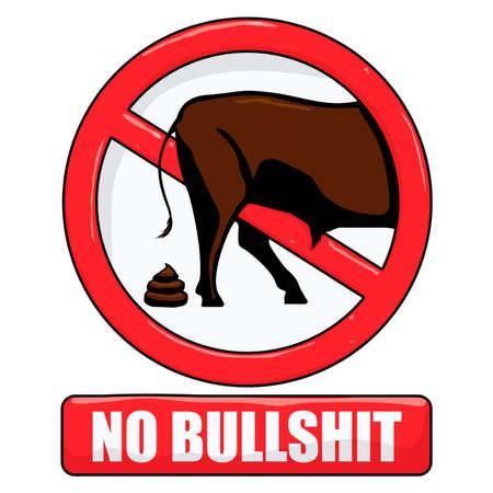 poo: vector illustration of a no bullshit sign
