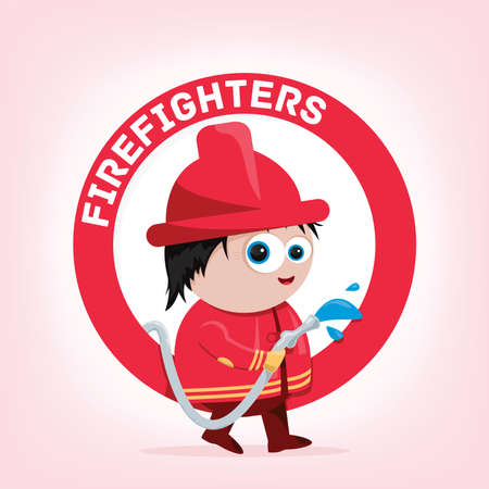 fire hydrant: cartoon of a firefighter
