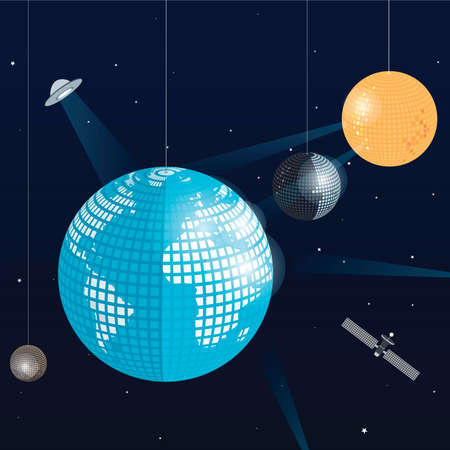 vector illustration of the planet earth, the moon, the sun and the planet pluto as disco balls.