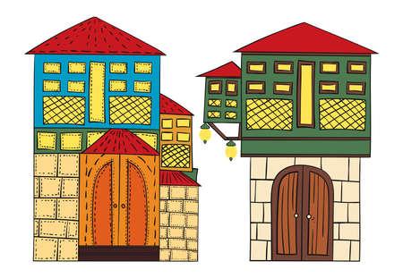 illustration vectorielle de maisons ottomanes Illustration