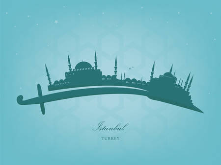 dome: vector silhouette of Istanbul on a Turkish sword