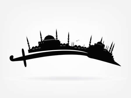 vecteur silhouette d'Istanbul sur une épée turque