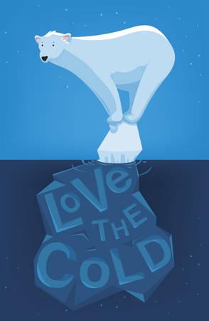 Cartoon-Illustration von einer einsamen Eisbären auf einem Eisberg Standard-Bild - 48075869