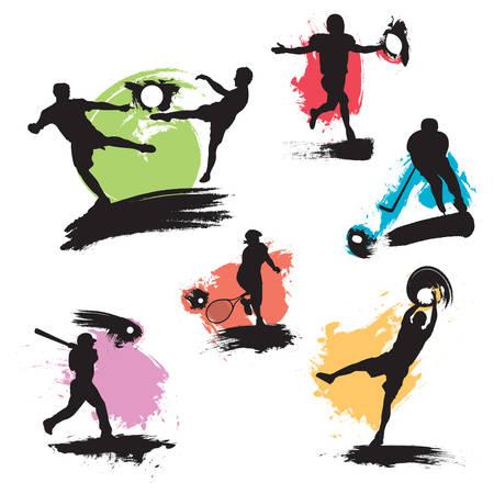 Six illustrations grunge avec des joueurs de football, le football, basket-ball, baseball, hockey sur glace et le tennis.