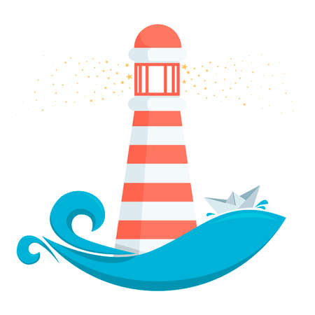 wave tourist: vector illustration of a lighthouse