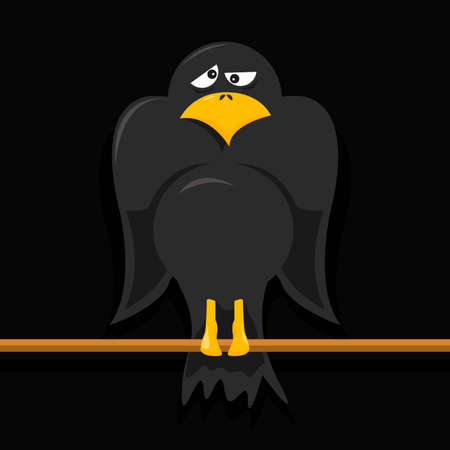 carrion: vector cartoon of a crow