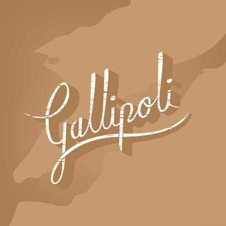 ガリポリのマップ上のヴィンテージ ガリポリのレタリング。