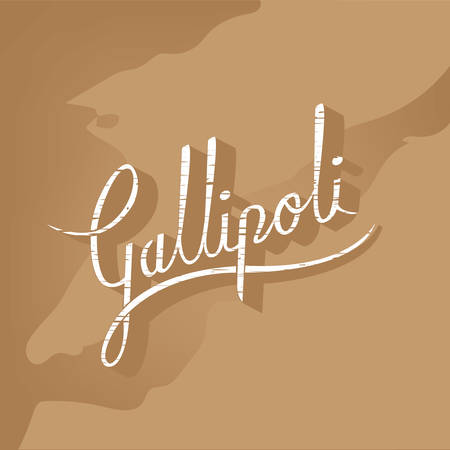 Vintage lettrage Gallipoli sur la carte de Gallipoli. Illustration