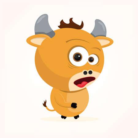 cartoon of a cute ox