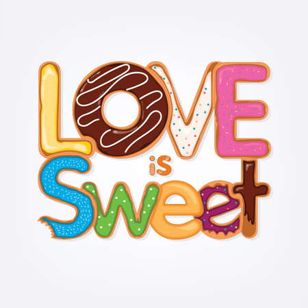 Valentines Day card with love is sweet phrase Stock Illustratie