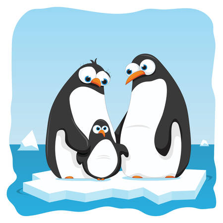 vector cartoon illustration of a penguin family