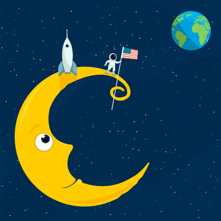 cartoon illustation of the man on the moon Stock Illustratie