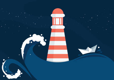 Vector illustration of a lighthouse Stock Illustratie