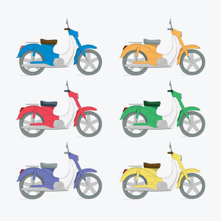 vector set of colorful vintage motorcycles
