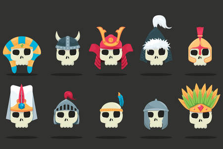 vector set of a various skulls with helmets Stock Illustratie
