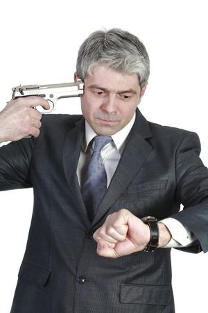shorten: Hombre de negocios tarde a una reuni?n importante quiere acortar la agon?a Foto de archivo