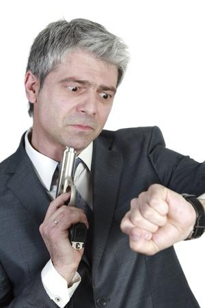 shorten: Hombre de negocios tarde a una reuni�n importante quiere acortar la agon�a Foto de archivo
