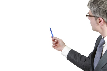 Businessman shows    with his pen  Isolated on a white background