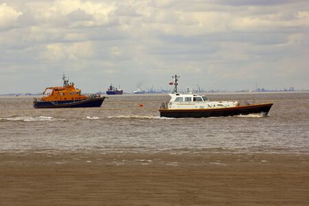 spurn: an assortment of boats on the humber estuary off spurn head yorkshires east coast Stock Photo