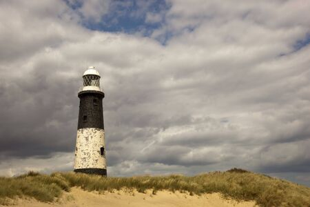 spurn: view of spurn point lighthouse on the humber estuary