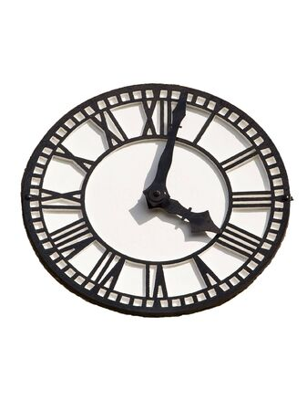numerals: a black and white clock with roman numerals on a white background