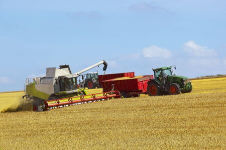 harvesting on the wolds in summer under a blue sky
