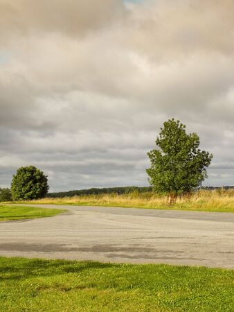 grass verge: an english country road with grass and trees under a cloudy sky Stock Photo