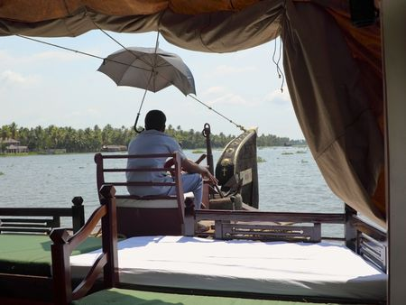 south india: view from a rice boat cruising the backwaters of kerala south india