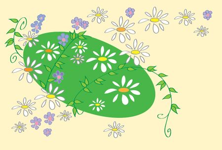 pale yellow: illustration of a lawn with vines daisies blue flowers and leaves on a pale yellow background
