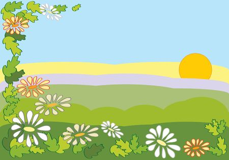 a colorful image of a summer landscape with daisies and oak leaves Stock Photo - 6270259