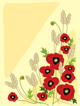 hand drawn illustration of poppies and wheat with green leaves on a pale yellow background illustration