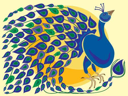 hand drawn illustration of a peacock with colorful tail feathers in front of an orange sun on a pale yellow background illustration