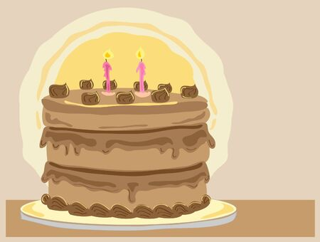 pale cream: hand drawn illustration of a delicious chocolate gateaux with cream and candles on a cake board and a pale brown background
