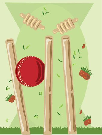 hand drawn illustration of a cricket ball striking the wickets with flying bales and divots on a green background illustration