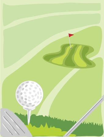 hand drawn illustration of a view from an elevated tee looking down the fairway towards the green illustration
