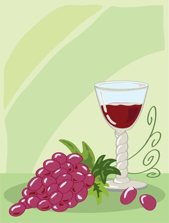 seventeenth: hand drawn illustration of a seventeenth century barley twist glass of red wine with a bunch of grapes against a light green background