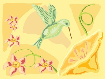 pale yellow: hand drawn illustration of a hummingbird with exotic flowers on a pale yellow background