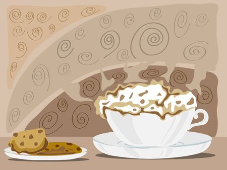 cappuchino: a frothy cup of cappuchino with a plate of chocolate chip cookies on a coffee colored background Stock Photo