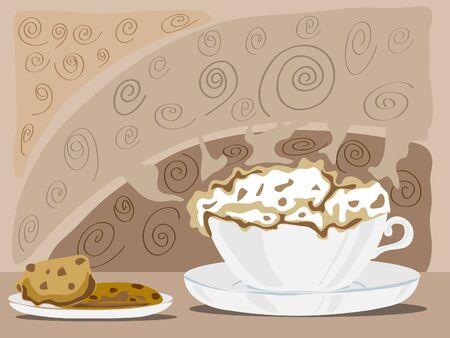 frothy: una tazza schiumoso di cappuchino con un piatto di biscotti al cioccolato su uno sfondo colorato caff�
