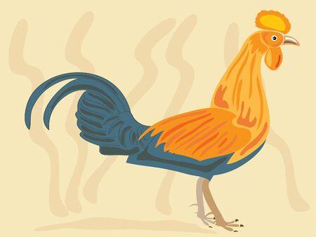 fowl: a sri lanka jungle fowl gallus lafayettii on a pale brown background