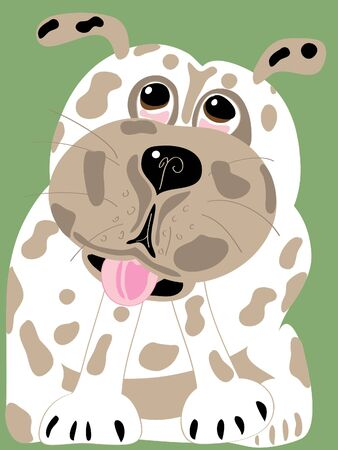 hand drawn illustration of a brown and white spotted puppy Reklamní fotografie