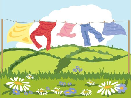 hedgerows: a hand drawn illustration of a washing line in summer with flowers and hills in the background Stock Photo