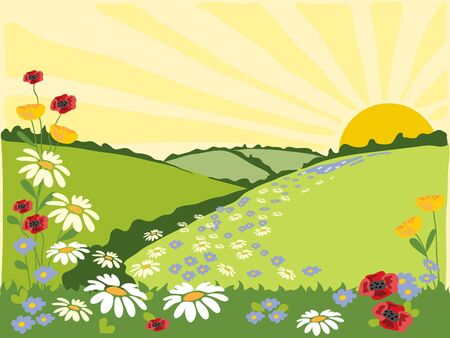 hand drawn illustration of a flowery path through green fields to a sunburst Stock Illustration - 6737758
