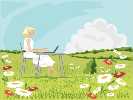 a hand drawn illustration of a woman with a laptop computer in a field full of daisies with hedgerows and a blue summer sky Stock Illustration - 6789469