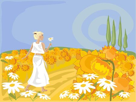 a field of sunflowers on a hot day with trees and a woman walking Vector