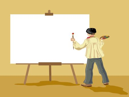 smock: hand drawn illustration of an artist next to a large blank white canvas Stock Photo
