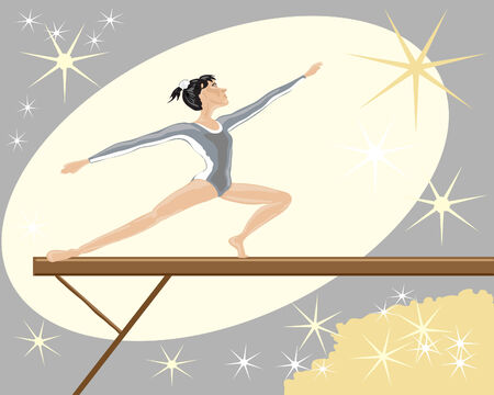 gymnast: hand drawn illustration of a gymnast on a balance beam with crowd and sparling lights