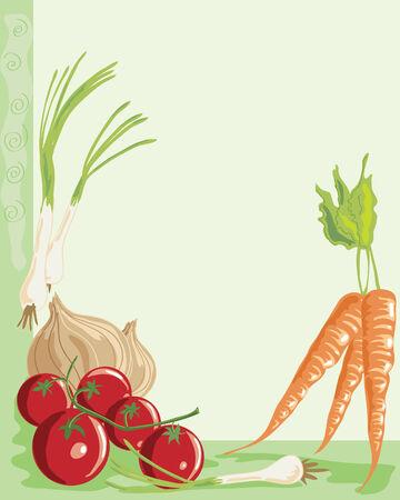 cebollas: mano dibuja la ilustraci�n de un acuerdo de verduras con copyspace sobre un fondo verde p�lido